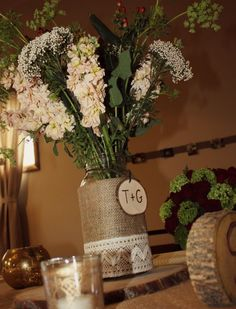 Rustic Wedding Decorations - Rustic Country Wedding Decor and Photos Rustic Table Centerpieces, Rustic Country Wedding Decorations, Church Wedding Decorations, Rustic Style, Just In Case, Vintage, Farm Tables, Wood Tables, Kitchen Tables