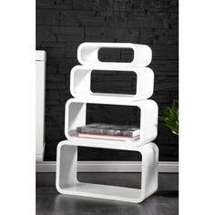 4pcs rectangular wooden retro design shelves in white floating shelving unit - www.neofurn.co.uk
