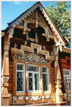Wooden house with carved decorations in Perm city, Russia Wooden Architecture, Russian Architecture, Beautiful Architecture, Beautiful Buildings, Architecture Details, Beautiful Homes, Windows Architecture, House Windows, Windows And Doors