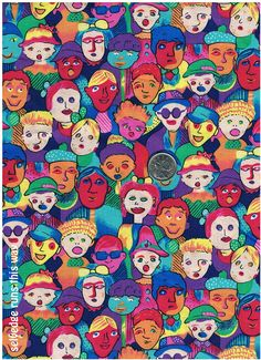 """42"""" Length of All-New  Fun and Colourful Faces Fabric by TreasureBeachDolls, $7.50"""
