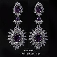 Classic Sun Flower design big Amethyst Purple Cubic Zirconia Simulated Diamond Long Drop Vintage Earrings For Women CZ004