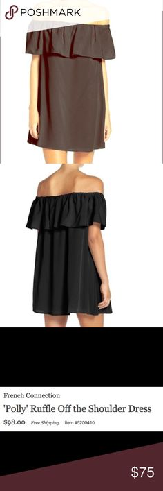 French Connection Polly Off Shoulder Dress XS French Connection Polly Off Shoulder Dress - really cute and sold out! Worn twice and just has some wrinkles that can be easily ironed French Connection Dresses