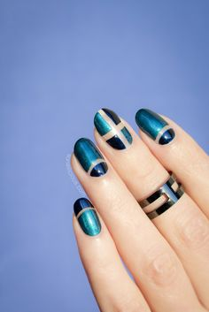 Blue Negative space nails. All details: http://sonailicious.com/pupa-nail-polish-review-nail-art/
