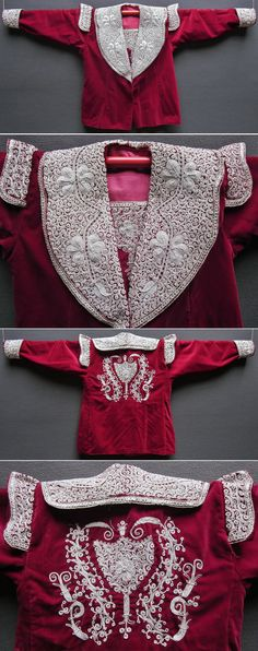 An embroidered vest (called 'sarka') from the central and Seyitgazi districts of the Eskişehir province.  Part of the local traditional bridal/festive costume.  Made in 1990-1995.  A remainder of the so-called 'Bahriye'-style (= 'Navy'), which was popular in Istanbul in the early 20th century.   Silver thread embroidery on velvet; 'kordon tutturma' technique/applied cord.  (Inv.nr. cep016 - Kavak Folklor Ekibi&Costume Collection-Antwerpen/Belgium).