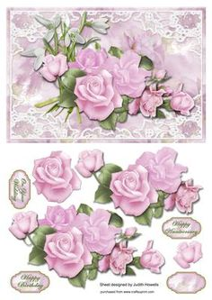 Pink Rose Bouquet In Lace Frame Card Front on Craftsuprint designed by Judith Mary Howells - A large card front sized to fit an A5 card featuring a gorgeous bouquet of pink roses with decoupage pieces and optional greeting plates for HAPPY BIRTHDAY, HAPPY ANNIVERSARY, ON YOUR WEDDING and BLANK for any other wording/occasion. - Now available for download!