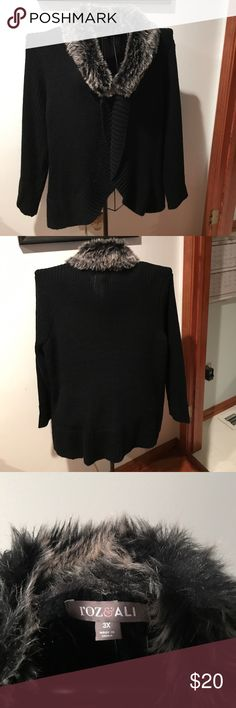 Black Sweater with Faux Fur Collar 3X This sweater is cute and classy, it has a dark gray and white faux fur collar! The sweater is a 3X. It has one closure close to the neck! Roz & Ali Sweaters Cardigans