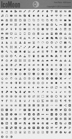 IcoMoon's Free icon pack currently comes with 450 vector icons.
