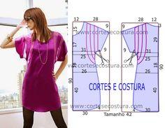 Vestido casual curto com medidas de corte e costura fácil