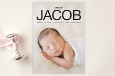 Meet Jacob Birth Announcement Postcards by Dozi at minted.com