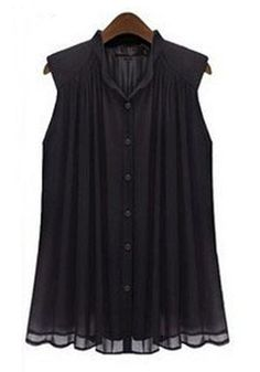 Black Plain Pleated Band Collar Sleeveless Chiffon Blouse