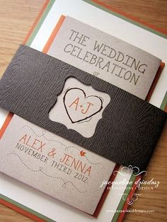 Fall Wedding Invitations.  I like this because I want the center heart on some of our decorations!