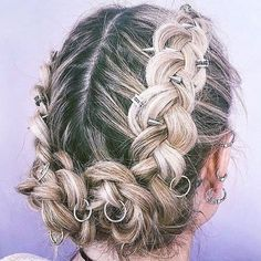 20 Silver Hair Rings with 20 Hair Piercing Spike Acesssories Half Braided Hairstyles, Plaits Hairstyles, Down Hairstyles, Wedding Hairstyles, Braided Buns, Messy Buns, Wedding Updo, Magenta Hair Colors, Bright Red Hair