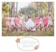 Rustic chic wedding miss matched bridesmaids dresses cowgirl boots burlap baby's breath Julie Paisley Photography