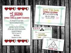 Legend of Zelda inspired Wedding Invitation Save by PandorasArt