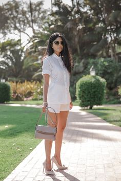 White on white + nude pumps and purse