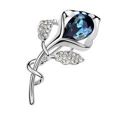 Latigerf Flower Brooch White Gold Plated Swarovski Elements Crystal Navy-blue *** Review more details here : Fashion Brooches and Pins