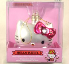 Hello Kitty Glass Christmas Ornament White Kitty Pink Bow