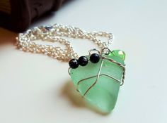 SEA GLASS necklace GIRLFRIEND gift for her Mermaid tears - Beaded necklace - Love pendant - Handmade pendant Genuine beach seaglass natural by FoxJewelleryShop on Etsy
