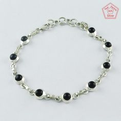 BLACK ONYX STONE GLAMOURUS DESIGN 925 STERLING SILVER BRACELET BR4336 #SilvexImagesIndiaPvtLtd #Chain
