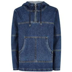 TOPMAN Blue Denim Overhead Jacket ($91) ❤ liked on Polyvore featuring men's fashion, men's clothing, men's outerwear, men's jackets, blue, mens blue jacket, mens zip jacket, mens zipper jacket, topman mens jackets and mens hooded jackets