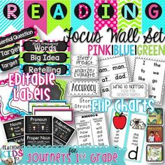 HUGE SET FOR JOURNEYS 1ST GRADE READING FOCUS WALL!! for 2011 and 2014 versions {NEON COLORS} PINK | GREEN | BLUE READING FOCUS WALL PENNANT BANNER AND EDITABLE LABELSLabels and Flip Charts included:Big IdeaEssential Questions (for 2011, 2014 series)Comprehension Target SkillComprehension Target StrategyFluencyGrammarMain Selection Cover Images (for 2011, 2014 series)Phonics (NEW Phonics Cards!)High Frequency Words (for 2011, 2014 series)Spelling WordsSmaller Spelling and High Frequency…