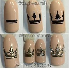 All of these nail designs are actually as simple as they are awesome. For those who are regularly trying to find options and brand-new designs, nail art designs are a way to display your character as well as to be original. Crown Nail Art, Crown Nails, Nail Art Diy, Diy Nails, Queen Nails, Nail Art Techniques, Creative Nails, Nail Tutorials, Nails Inspiration