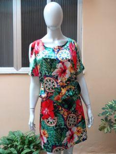 Vestido de Seda Estampa Lenço