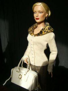 "#new2 dollduels.com #dollchat ^kv ""Regina Wentworth wearing Sophisticate Cardigan, Sumptuous pants and Regina Bag"""