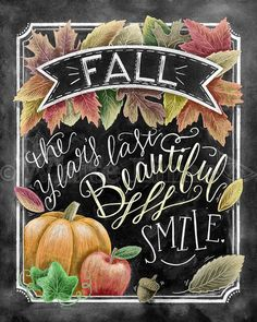 Fall Decor Fall Quote Fall Art Chalkboard Art by TheWhiteLime