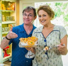 'John Boy' helping Christina with a peach dessert recipe on Home & Family