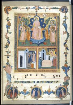 Miniature of Agnes enthroned flanked by two musician angels, with scenes from her life below. Beneath the miniature is a single four-line red stave, musical notation and a single line of text in gold capitals Sancta Agnese da dio.  Illuminated by Pacino di Buonaguida, Italy (Florence), c. 1340, Additional 18196, f. 1