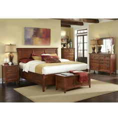 AAmerica Furniture: Westlake Collection featuring bed with 6 storage drawers, 10 and 6 drawer dressers, landscape mirror, nightstand, dresser mirror and cedar lined storage trunk.