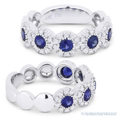 The featured ring is cast in 18k white gold and showcases halo settings set with sapphire center stones accentuated by round cut diamonds paved all the way around each sapphire.