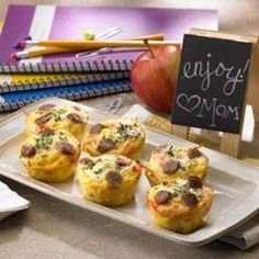 """Amazing Muffin Cups Recipe: """"Weekday breakfasts just got easier. Fill your kids up before sending them off to school with these fun-sized quiches made with hashbrowns, eggs and delicious Johnsonville Breakfast Sausage. Breakfast Muffins, Breakfast Items, Breakfast Dishes, Breakfast Recipes, Egg Muffins, Breakfast Casserole, Breakfast Sausages, Breakfast Cupcakes, Morning Breakfast"""
