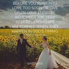 It happens in His timing not ours. So girls if you're waiting for that special guy continue carrying out the work God has called you to do. God has everything in His hands Godly Dating, Godly Marriage, Godly Relationship, Love And Marriage, Catholic Dating, Marriage Prayer, Quotes About God, Love Quotes, Inspirational Quotes