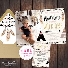 Perfect printable invitation for your WILD ONE with or without photo. We design, you print/send