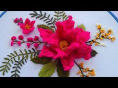 Brazilian Embroidery Stitches, Basic Embroidery Stitches, Floral Embroidery Patterns, Embroidery Needles, Embroidered Flowers, Flower Patterns, Hand Embroidery, Flower Embroidery, Japanese Embroidery