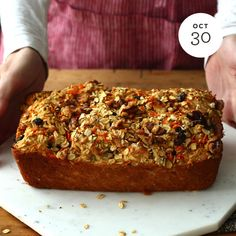 Discover a fun and delicious way to enjoy oats with our easy and delicious Oatmeal Carrot Cake Bread recipe made with your favorite Quaker® products. Carrot Bread Recipe, Carrot Cake Bread, Banana Bread Recipes, Carrot Cakes, Apple Bread, Loaf Recipes, Corn Bread, Loaf Cake, Ww Recipes