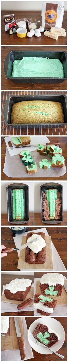 Shamrock loaf.  Easy the green cake, cut out the shamrocks and stack them in the pan.  Pour chocolate cake over top and back to finish.