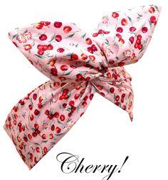 Pin Up ROCKABILLY Baby Pink CHERRY Print Wire Headband Hair Wrap. £6.00, via Etsy.