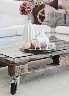 Mesa realizada con un palet.