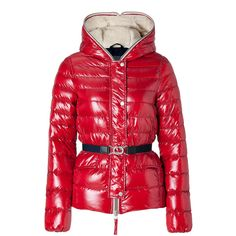 DUVETICA Rosso Granato Belted Cerceis Down Jacket ($800) ❤ liked on Polyvore