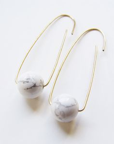 White Turquoise Ball Earrings Marble Gold Filled by friedasophie