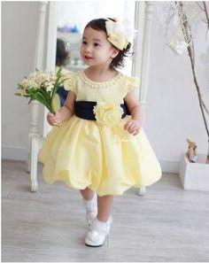 Light yellow flower girl dress with pretty peony flower sash it 2013 new arrive baby full dress mightylinksfo