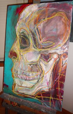 exploration of the skull using acrylic and soft pastel on canvas by Kat Ostrow > Day 2