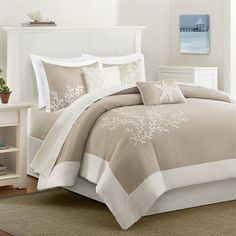 Harbor House Coastline King/Cal King 5 Piece Duvet Set in Khaki - Olliix a bit of sea side inspiration into your home with this beautiful bedding collection. The Coastline collection has an intricate coral motif embroidered on a soft c Full Comforter Sets, Bed Sets, Duvet Sets, Duvet Cover Sets, Beach Comforter, Taupe Comforter, Comforter Cover, King Bedding Sets, Twin Comforter