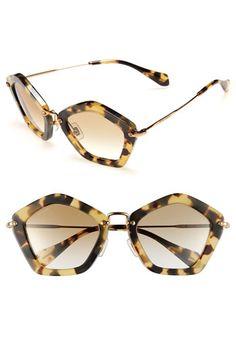 Miu Miu Geometric Sunglasses Yellow Tortoise One Size