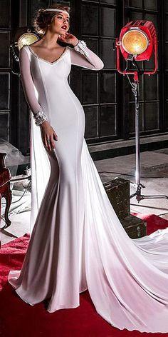 Charming Composite Filament Chiffon V-neck Neckline Mermaid Wedding Dress With Beadings & 3D Lace Appliques