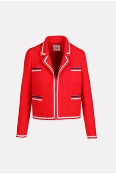 Long Sleeve Jacket – Ginger Howard Selections Boucle Jacket, Leather Jacket, Grosgrain, Navy And White, Blazer, Long Sleeve, Red, Cotton, Jackets