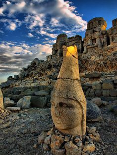 Nemrut Mountain East Terrace /  Adiyaman, Turkey.............  ( Nemrut or Nemrud Turkish: Nemrut Dağ or Nemrut Dağı is a 2,134 m (7,001 ft) high mountain in southeastern Turkey, notable for the vast statues at a 1st century BC tomb on its summit )